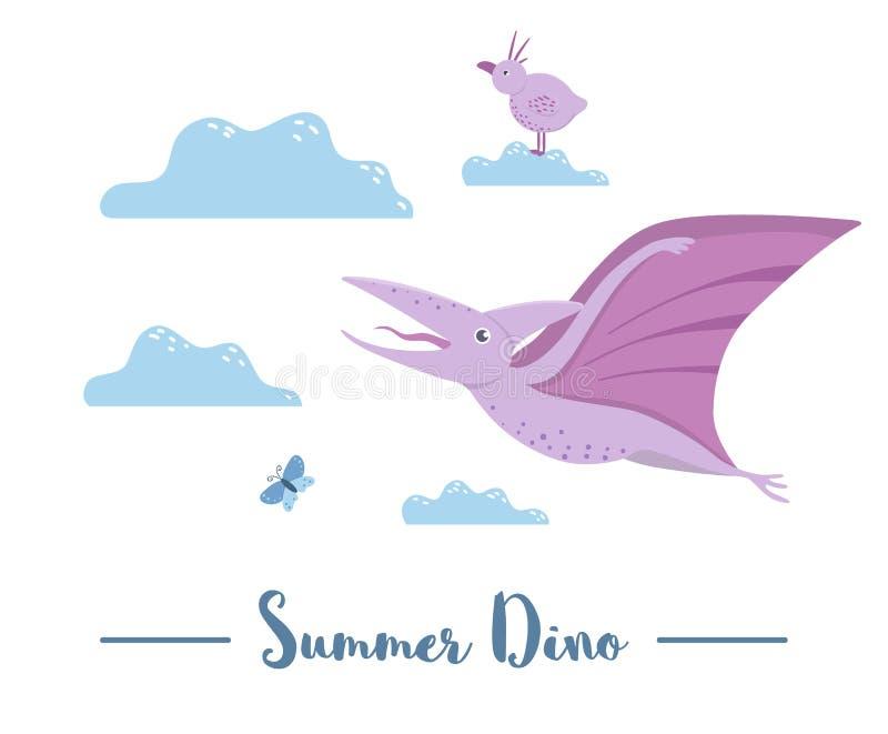 Illustrazione del volo di Dino fra le nuvole con l'uccello e la libellula Scena di estate con il dinosauro sveglio Rettili preist royalty illustrazione gratis