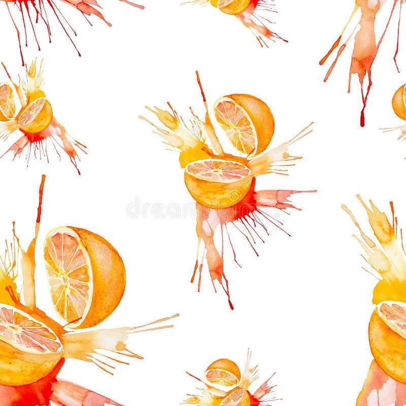 Illustrazione dell'acquerello dell'arancia nella spruzzata del succo isolata su un fondo bianco Reticolo senza giunte fotografia stock libera da diritti