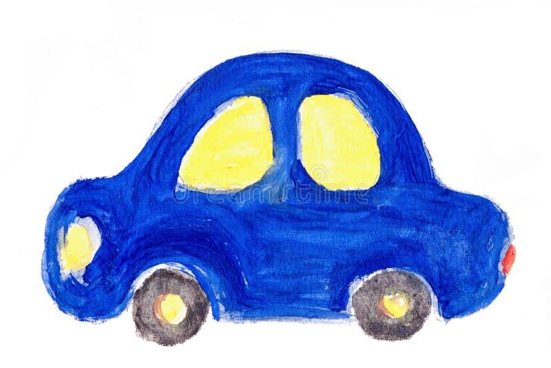 Illustrazione dell'acquerello dell'automobile del disegno del ` s del bambino isolata illustrazione vettoriale