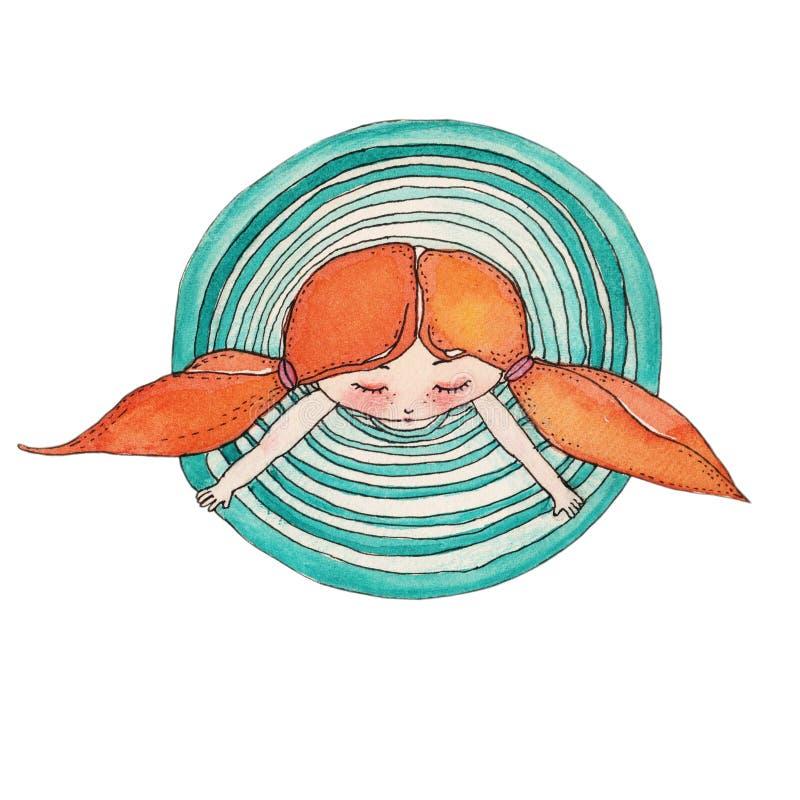 Illustrazione dell'acquerello, bambina sveglia, ragazza che porta vestito blu, bambino ballante, bambola, clipart isolata sopra illustrazione vettoriale