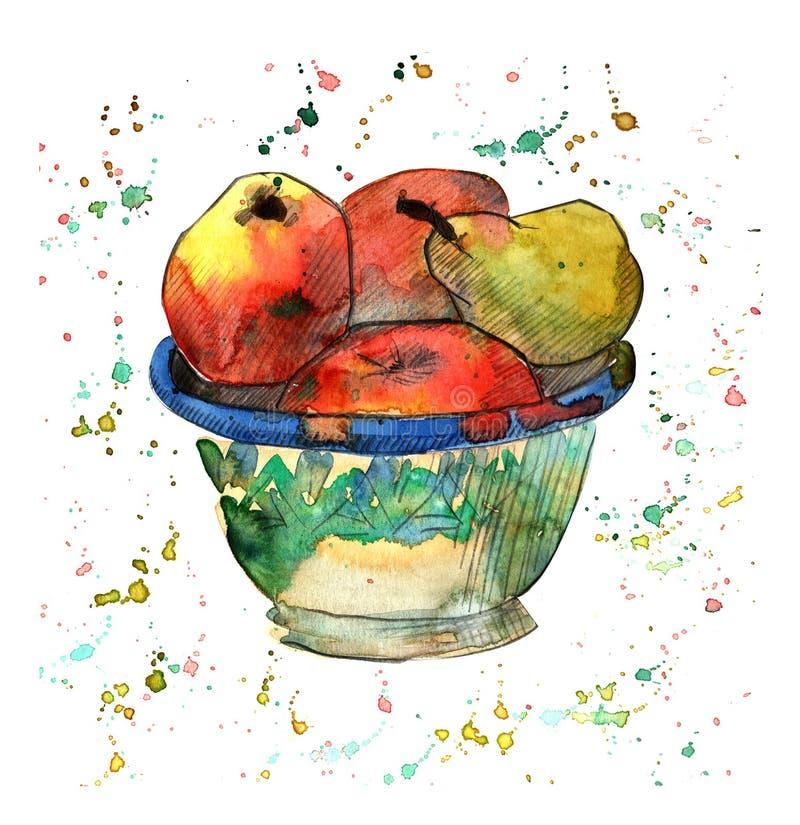 Illustrazione dell'acquerello con le mele e la pera in ciotola illustrazione vettoriale