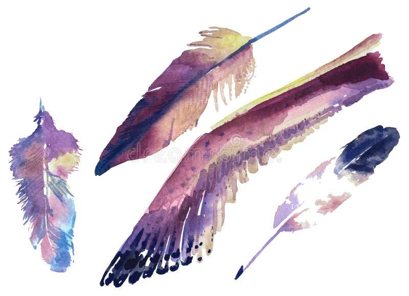 Illustrazione dell'acquerello degli elementi nello stile nautico royalty illustrazione gratis