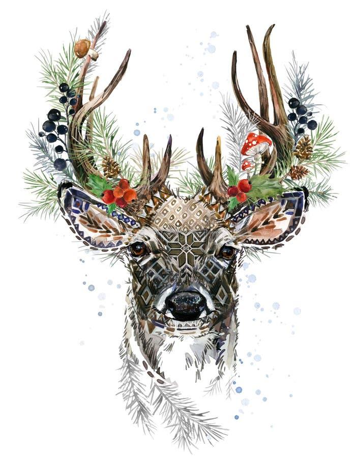 Illustrazione dell'acquerello dei cervi della foresta Renna di natale Progettazione della cartolina d'auguri di inverno illustrazione di stock