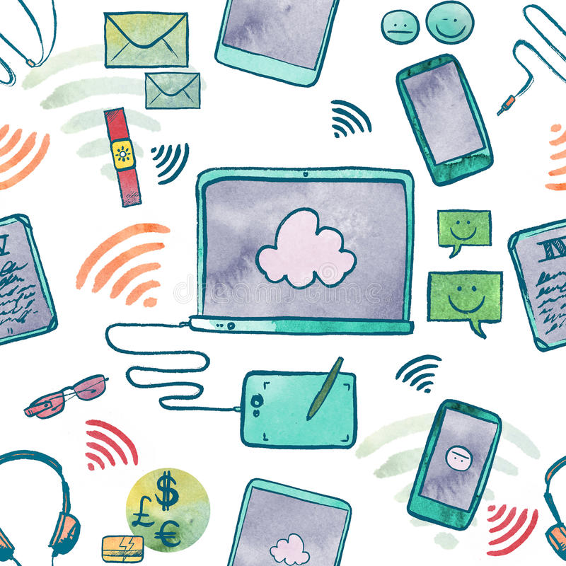 Illustrazione dell'acquerello dei dispositivi di tecnologia della comunicazione illustrazione vettoriale