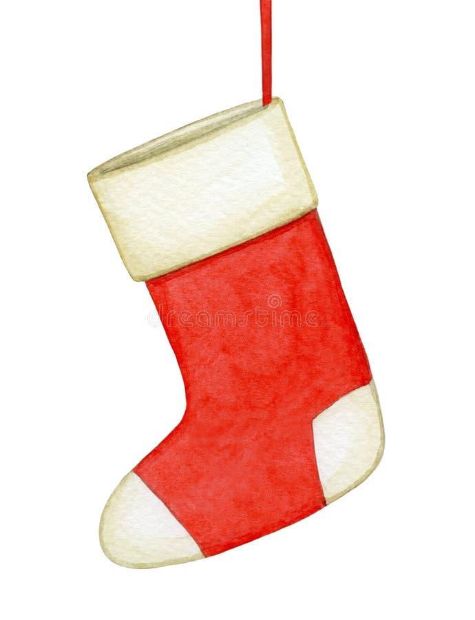 Illustrazione dell'acquerello del calzino di Natale royalty illustrazione gratis