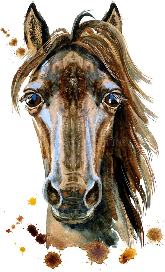 Illustrazione dell'acquerello del carattere dell'oroscopo del cavallo isolata su fondo bianco
