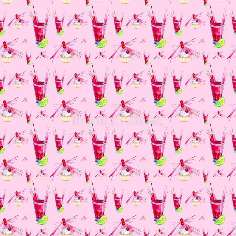 Illustrazione dell'acquerello del dolce decorata con la spruzzata rossa del succo della ciliegia, della calce e della ciliegia in royalty illustrazione gratis