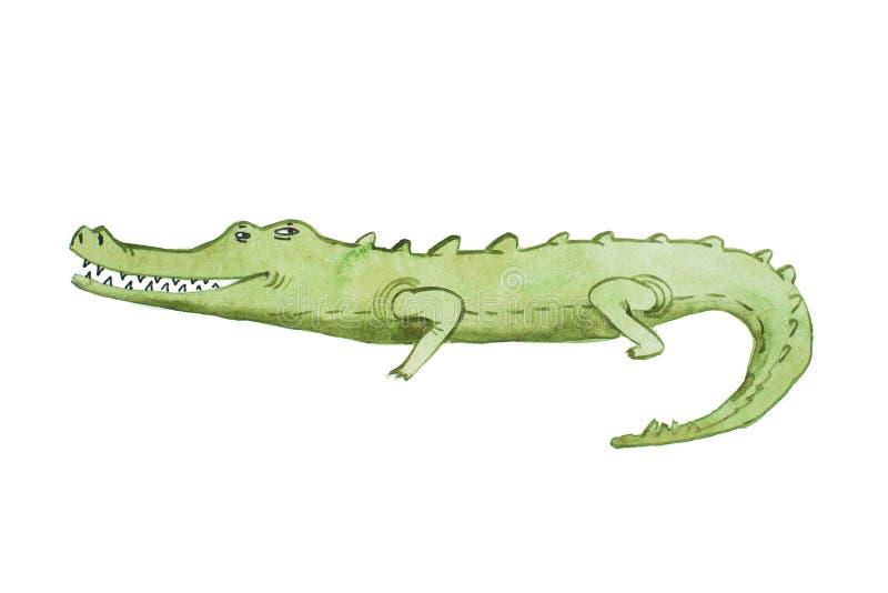 Illustrazione dell'acquerello dell'acquerello disegnato a mano del coccodrillo illustrazione vettoriale