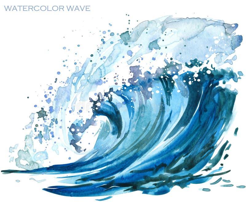 Illustrazione dell'acquerello dell'onda del mare illustrazione vettoriale