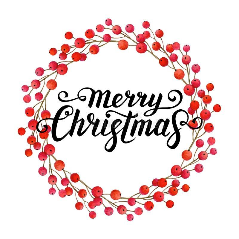 Illustrazione dell'acquerello della corona di Natale illustrazione di stock