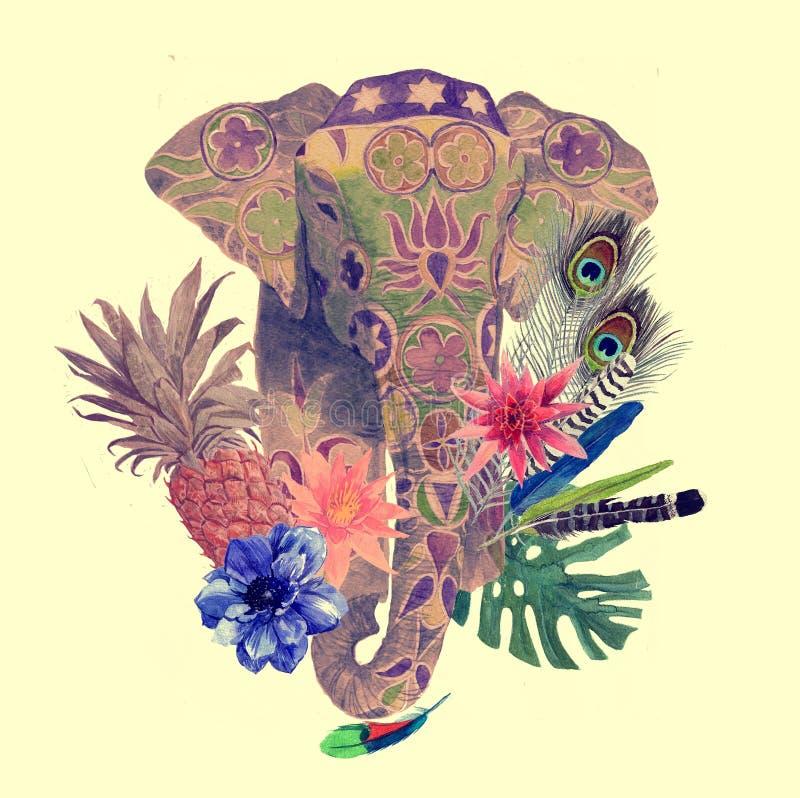 Illustrazione dell'acquerello della testa dell'elefante indiano royalty illustrazione gratis