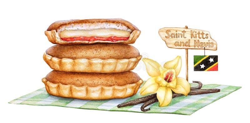 Illustrazione dell'acquerello della torta dolce tradizionale di agonia di Saint Kitts e Nevis di amore illustrazione vettoriale