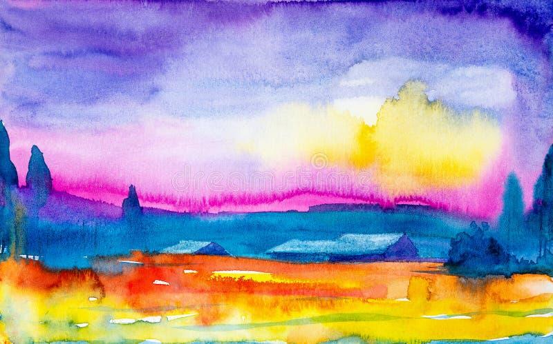 Illustrazione dell'acquerello di bello tramonto in un villaggio russo Campo giallo arancione luminoso davanti al villaggio ed all illustrazione di stock