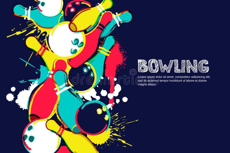 Illustrazione dell'acquerello di bowling di vettore Palle e perni sul fondo variopinto della spruzzata Progettazione per l'insegn illustrazione di stock