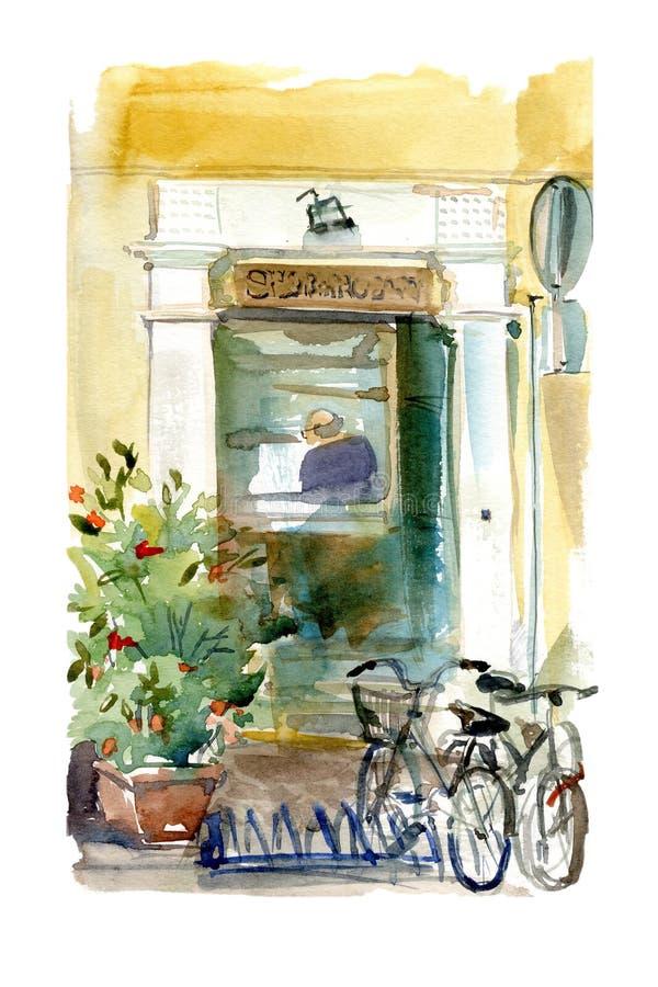 Illustrazione dell'acquerello di piccola parte anteriore italiana del negozio con le biciclette e le piante fuori Scena della via illustrazione vettoriale
