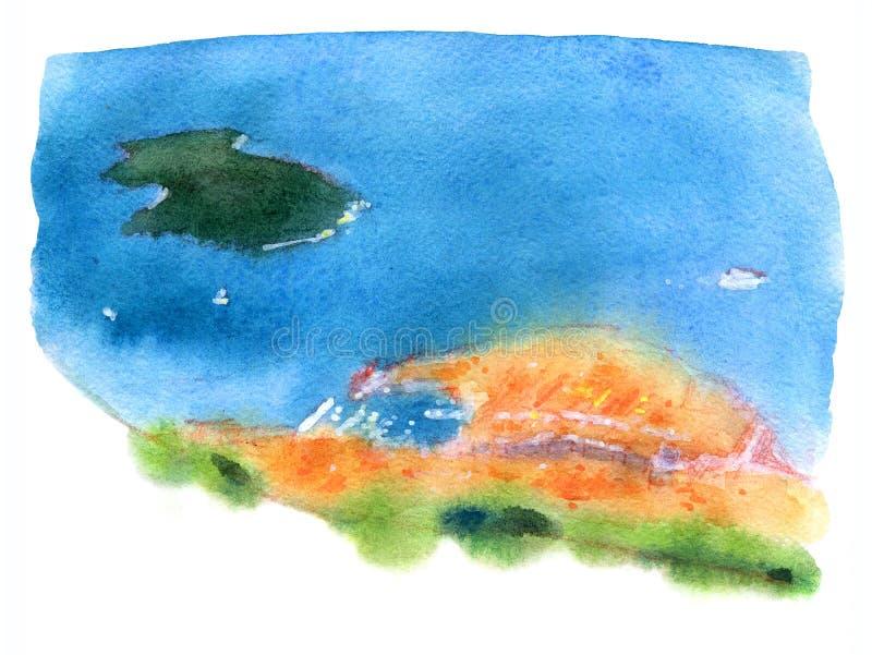 Illustrazione dell'acquerello di Ragusa illustrazione vettoriale