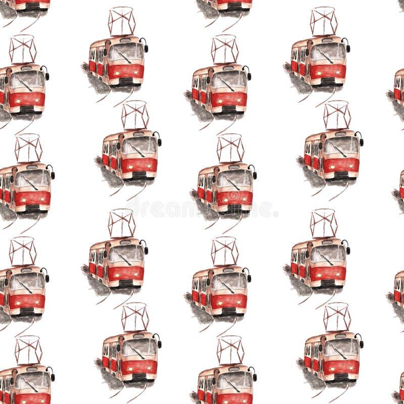 Illustrazione dell'acquerello di un modello rosso del tram illustrazione di stock