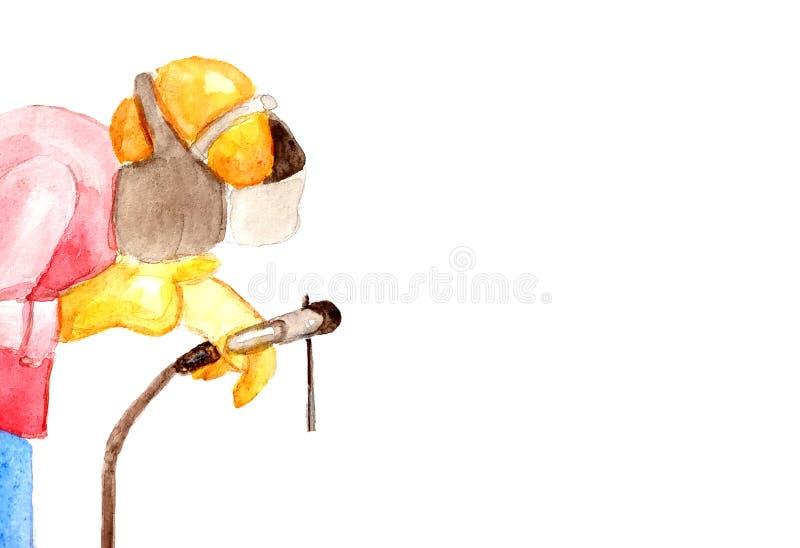 Illustrazione dell'acquerello di un saldatore maschio che salda un tubo in un casco protettivo su un fondo bianco a destra isolat illustrazione vettoriale