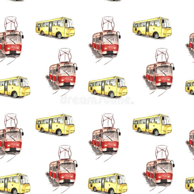 Illustrazione dell'acquerello di un tram rosso e di un modello giallo del bus royalty illustrazione gratis