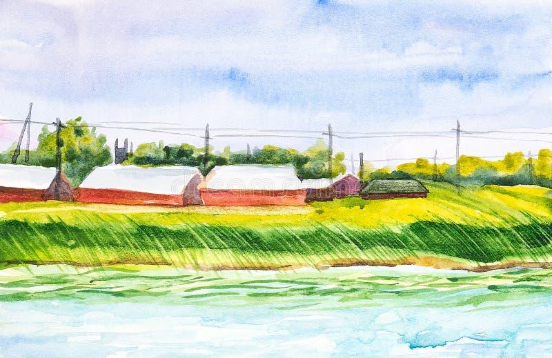 Illustrazione dell'acquerello di un villaggio russo sulla riva di un lago con erba alta Pali visibili con i cavi elettrici royalty illustrazione gratis