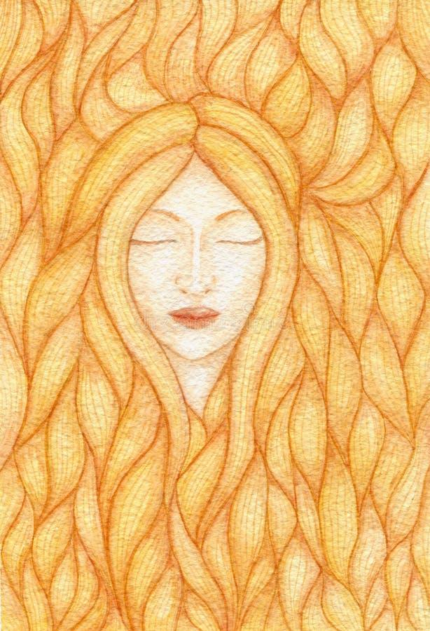 Illustrazione dell'acquerello di una donna con gli occhi chiusi coperti di mèche dei capelli dell'oro illustrazione di stock