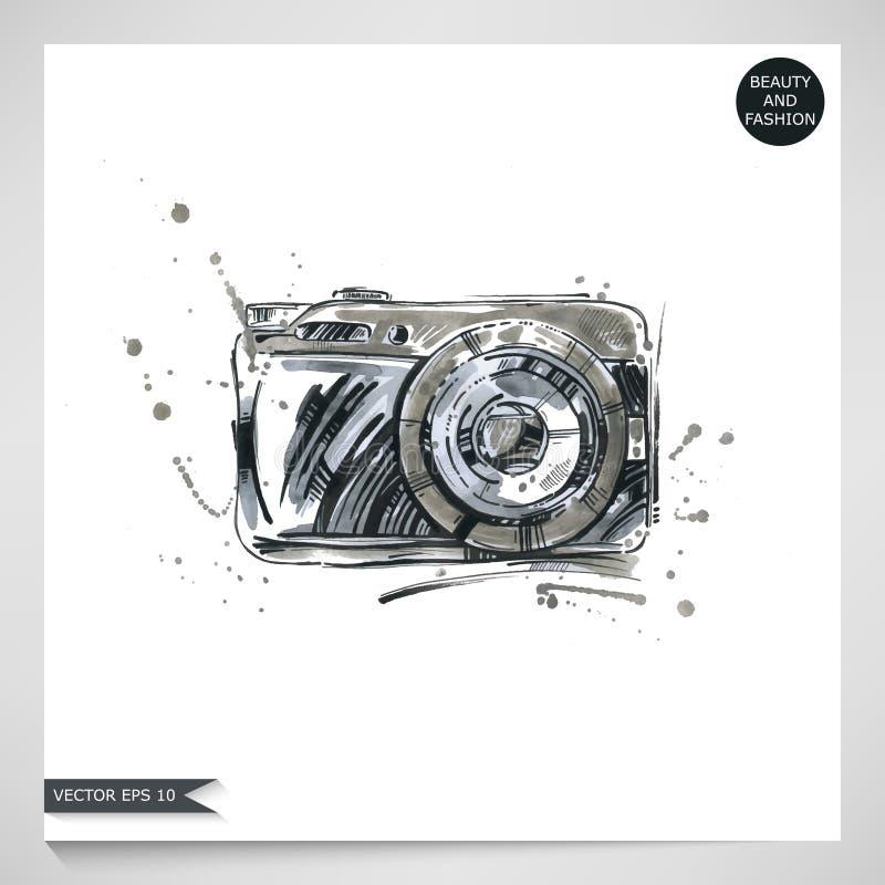 Illustrazione dell'acquerello di una macchina fotografica immagine stock