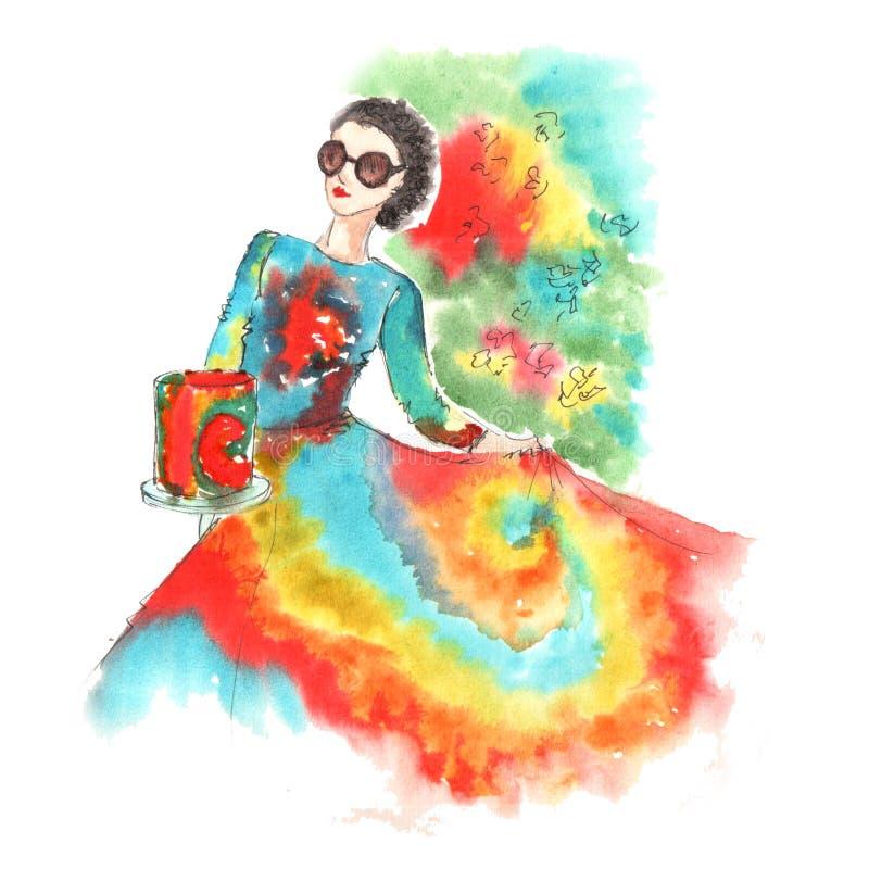 Illustrazione dell'acquerello di una ragazza illustrazione di stock