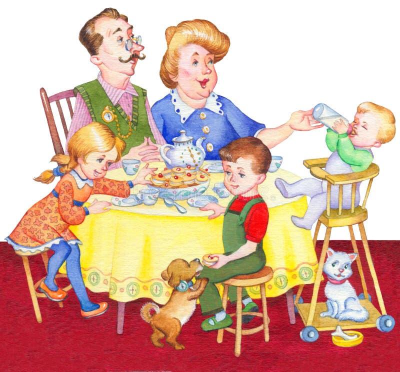 Illustrazione dell'acquerello Famiglia felice per un tè festivo illustrazione vettoriale