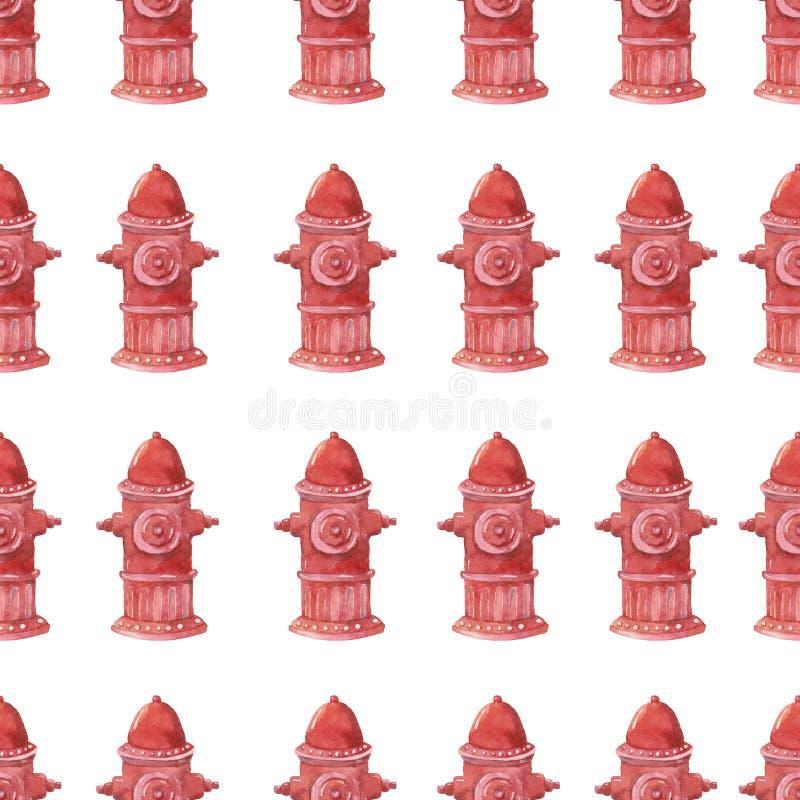 Illustrazione dell'acquerello dell'idrante antincendio su fondo bianco Cassaforte senza cuciture del modello del pompiere degli s illustrazione di stock