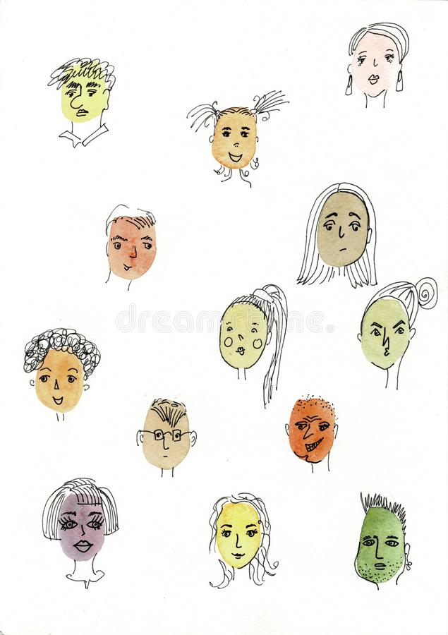 Illustrazione dell'acquerello isolata su fondo bianco Il ritratto del fronte, fronti differenti del ` s della ragazza illustrazione vettoriale