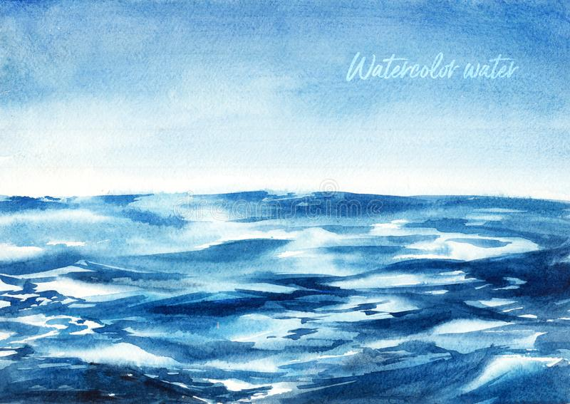 Illustrazione dell'acquerello - onda del blu di oceano illustrazione di stock