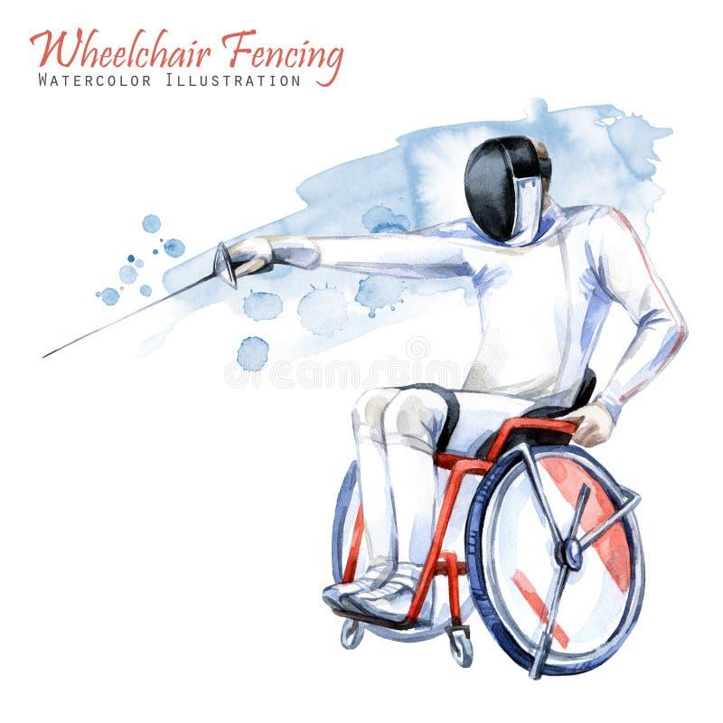 Illustrazione dell'acquerello Sedia a rotelle che recinta sport Figura dell'atleta disabile nella sedia a rotelle con una spada a royalty illustrazione gratis