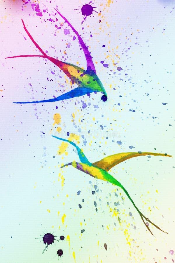 Illustrazione dell'acquerello uccelli immagine stock