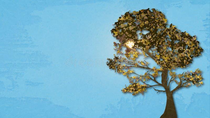 Illustrazione dell'albero di autunno sul cielo soleggiato del fondo con effetto della carta di marmo e dello spazio per il vostro royalty illustrazione gratis