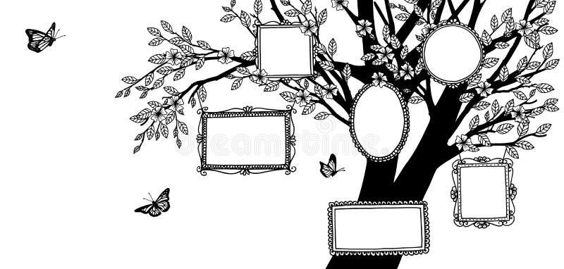 Illustrazione dell'albero genealogico con le cornici disegnate a mano illustrazione vettoriale