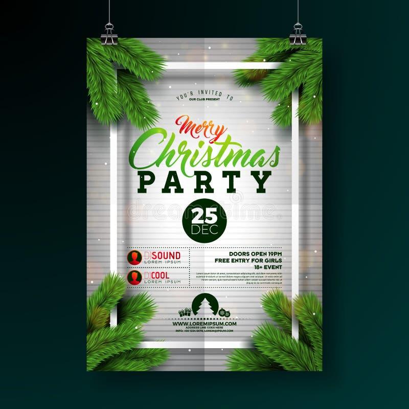 Illustrazione dell'aletta di filatoio della festa di Natale con l'iscrizione di tipografia e ramo del pino su fondo bianco Festa  illustrazione di stock