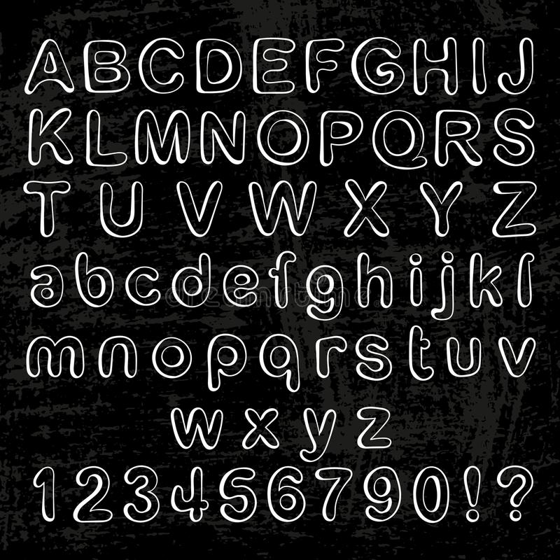 Illustrazione dell'alfabeto del gesso sulla lavagna Raccolta di glifi illustrazione di stock
