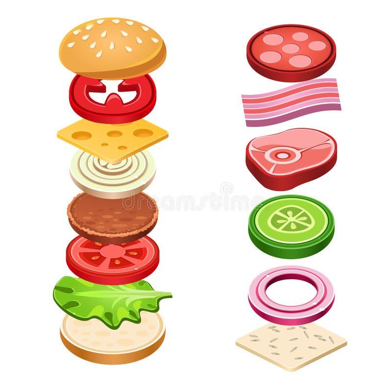 Illustrazione dell'alimento degli ingredienti del panino illustrazione vettoriale
