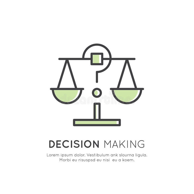 Illustrazione dell'analisi dei dati, gestione, abilità di pensiero di affari, processo decisionale, gestione di tempo, memoria, S illustrazione vettoriale