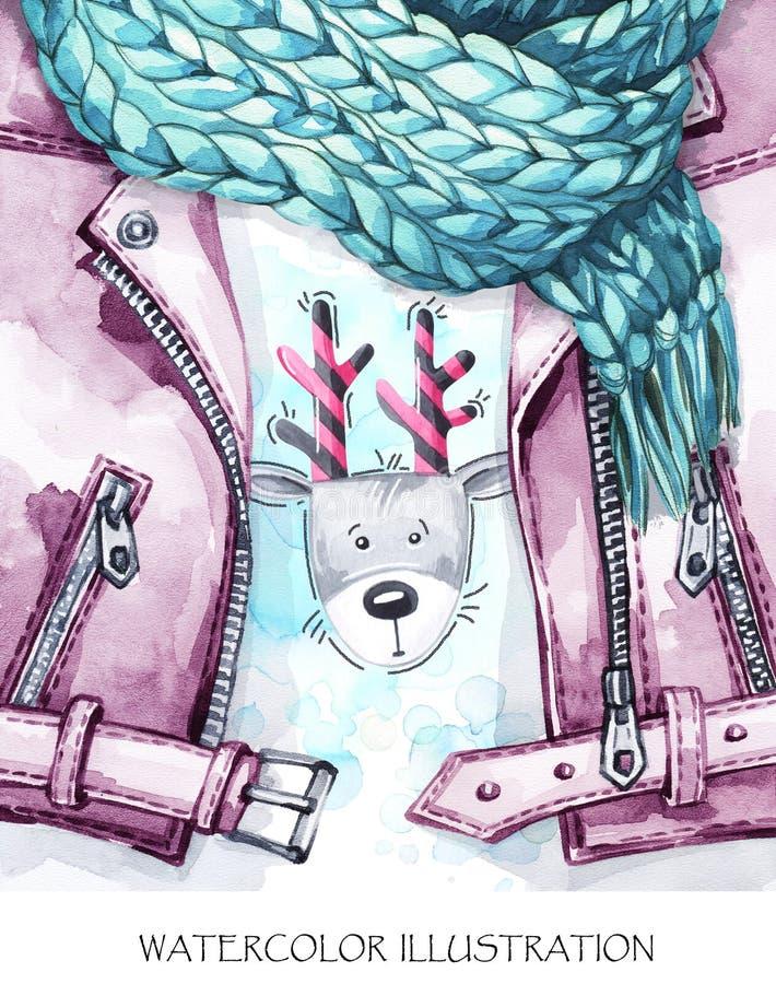 Illustrazione dell'annata dell'acquerello Sguardo caldo di usura Il bomber dipinto a mano, tricottando la sciarpa ed i cervi dive illustrazione di stock