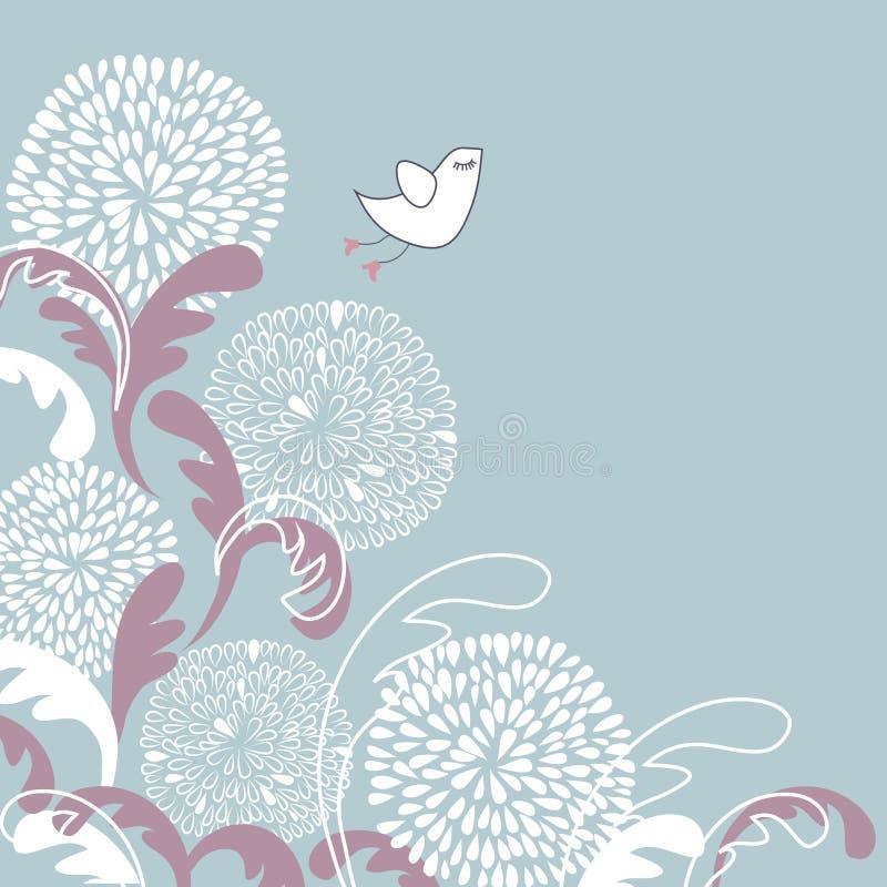 Illustrazione dell'annata dell'uccello sveglio sui fiori illustrazione vettoriale