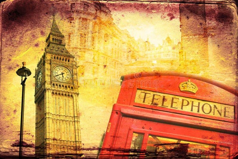 Illustrazione dell'annata di arte di Londra illustrazione di stock