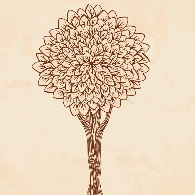 Illustrazione dell'annata di un albero illustrazione di stock