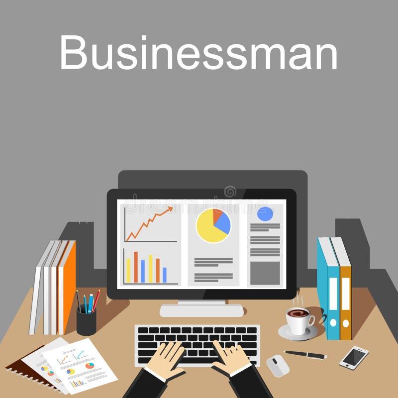 Illustrazione dell'area di lavoro dell'uomo d'affari illustrazione vettoriale