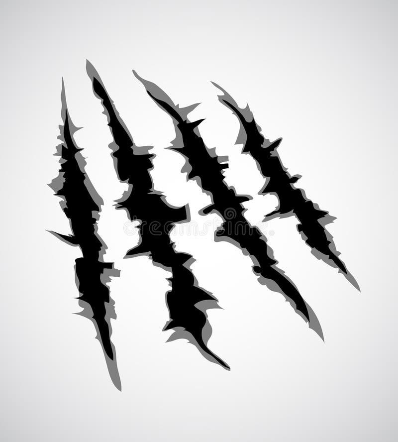 Illustrazione dell'artiglio del mostro o del graffio della mano, strappo attraverso fondo bianco Vettore royalty illustrazione gratis