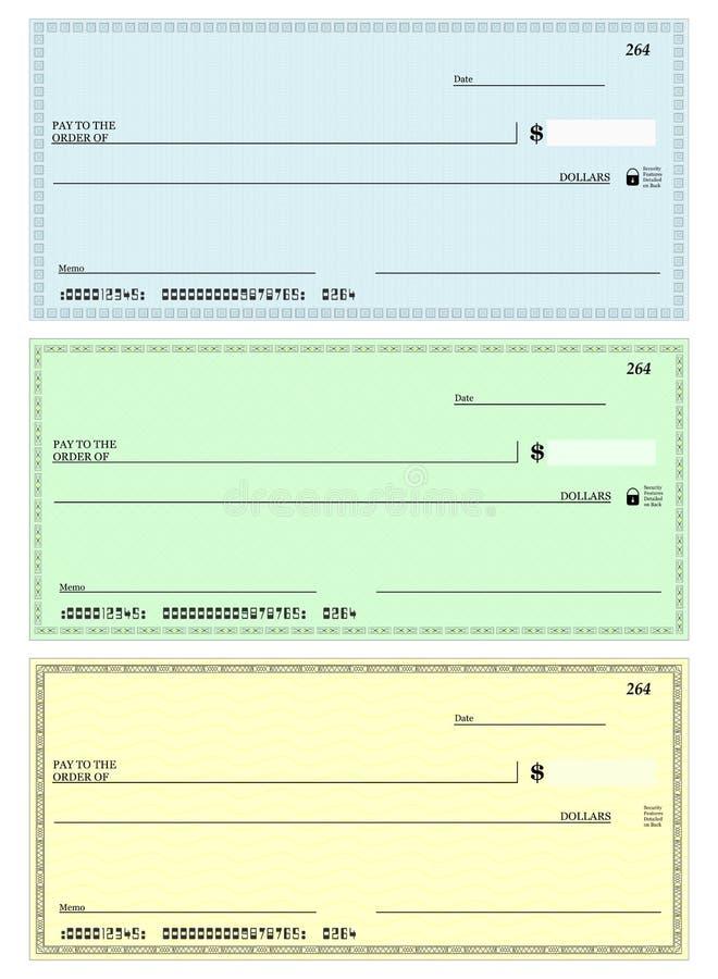 Illustrazione dell'assegno in bianco fotografie stock libere da diritti