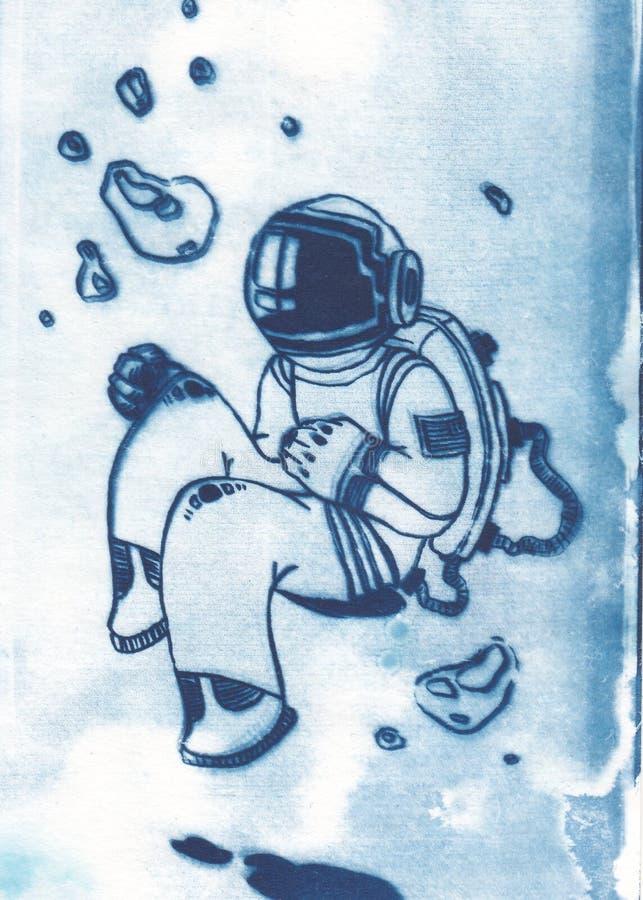 Illustrazione dell'astronauta con la tuta spaziale nello spazio all'aperto illustrazione vettoriale