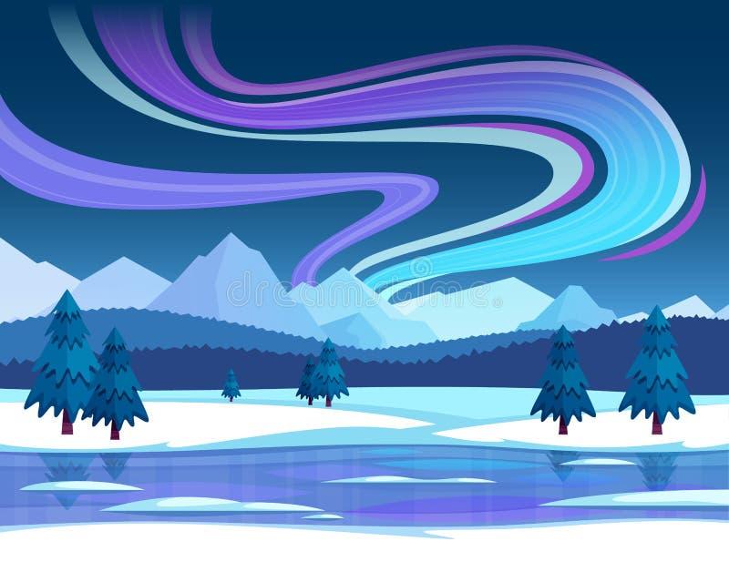 Illustrazione dell'aurora boreale illustrazione di stock
