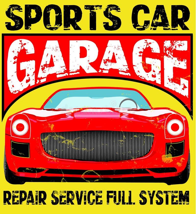 Illustrazione dell'automobile sportiva, illustrazione della maglietta, sport, ragazzi illustrazione di stock