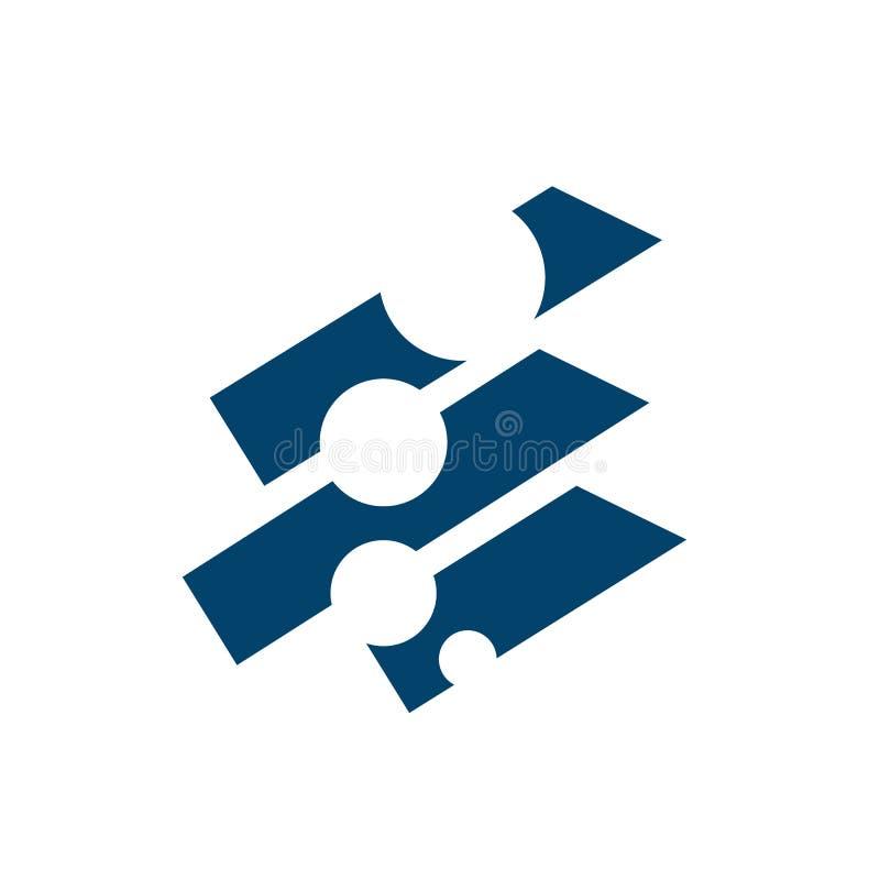 illustrazione dell'elemento del logo del vettore di tecnologia dell'icona del cerchio connesso al digital signage illustrazione di stock